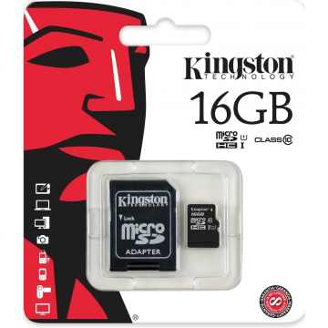Карта памяти microSDHC 16 GB Class 10 Kingston + адаптер
