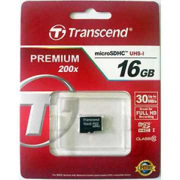 Карта памяти microSDHC 16 GB Class 10 Transcend