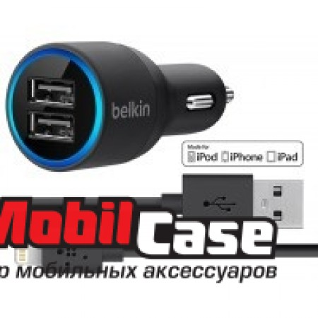 Авто зарядное устройство Belkin 2USB 2.1A + кабель для Apple