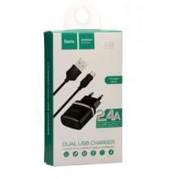Сетевое зарядное HOCO C12 (2USB 2.4A) + кабель Micro USB